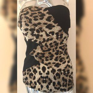 NWT Charlotte Russe Leopard Print Strapless Top M